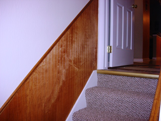 Basement staircase with wainscot