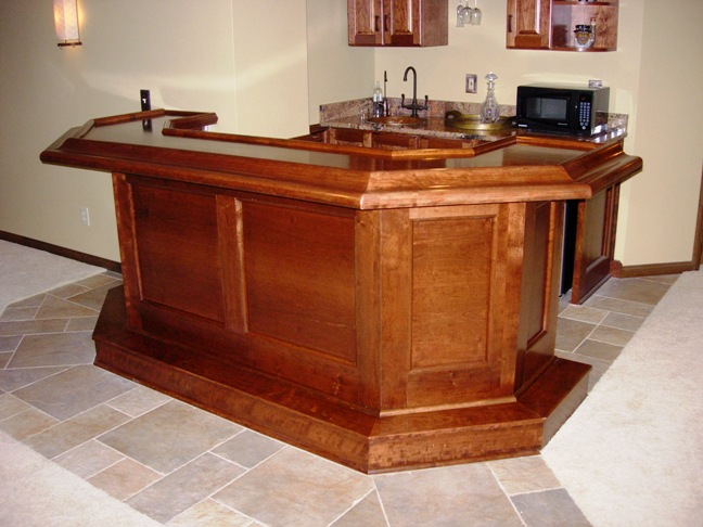 Custom built cherry bar with granite 5