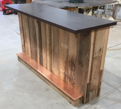 Home bar built with reclaimed lumber