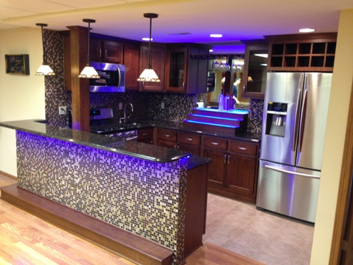 Custom Cherry Bar Kitchenette With Led Lights